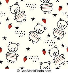 seamless, padrão, ursos, escandinavo, moranguinho, floresta