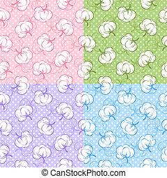 seamless, padrões, com, algodão brota