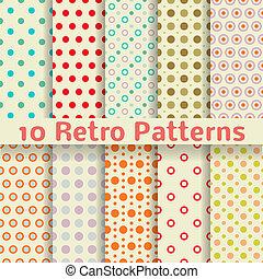 seamless, padrões, vetorial, retro, ponto, (tiling).