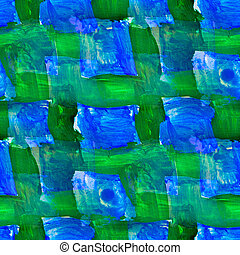 seamless painting Blue green grid square watercolor with...