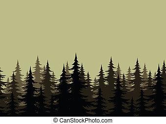 seamless, paisaje, bosque, siluetas