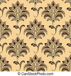 Seamless paisley pattern with brown flowers