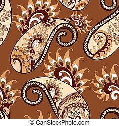 seamless paisley pattern with ethnic ornament in beige and burgundy tones on a light brown background