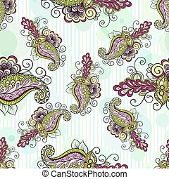 Seamless paisley pattern with stylish curls and stripes