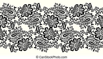 Seamless paisley with floral vector border