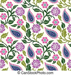 Seamless paisley with flower pattern on white background