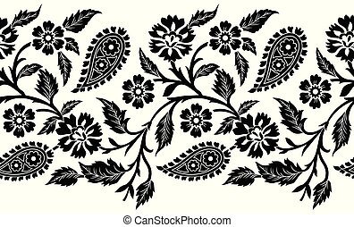 Seamless paisley with flower vector border