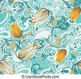 Seamless paisley with flowers textile design pattern