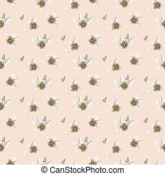 Seamless pale pink flower pattern vector.