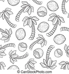 Seamless palm coconut background