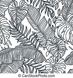 seamless, palma, modello, leaves.