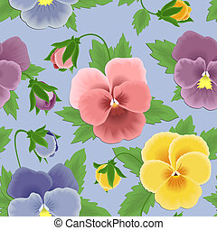 Seamless pansies pattern - Seamless background with colorful...