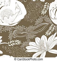 seamless, papel parede, com, bonito, flores