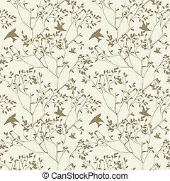 seamless, papel parede, com, filiais árvore, e, pássaro