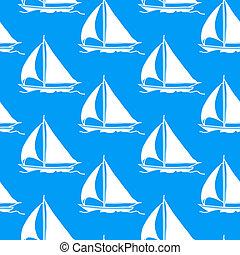seamless, papel parede, com, um, sailboat