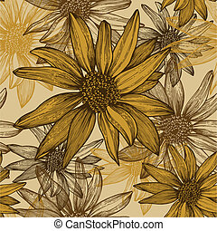 seamless, papel pintado, con, flores, semillas de girasol, hand-drawing., vector, illustration.