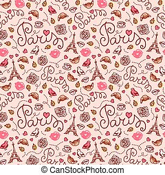 Seamless Paris pattern. Hand drawn illustration.