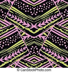 seamless, pasiasty, kwiatowy, geometryczny, pattern.trendy, druk, z, barwny, stripes.