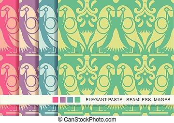 Seamless pastel background set animal bird parrot flower