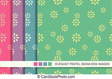 Seamless pastel background set cute daisy flower