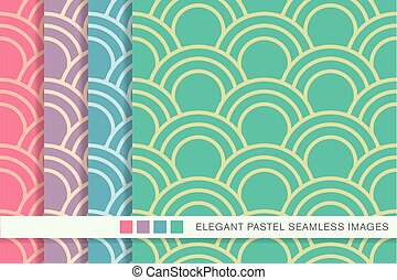 Seamless pastel background set fish scale round curve line