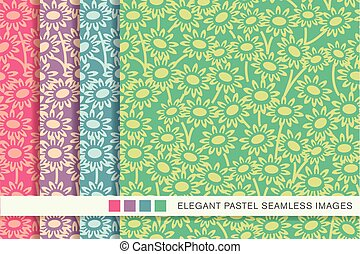 Seamless pastel background set garden daisy flower