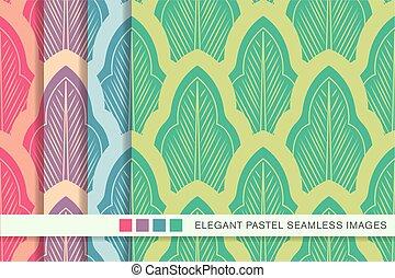 Seamless pastel background set oriental botanic curve cross ...