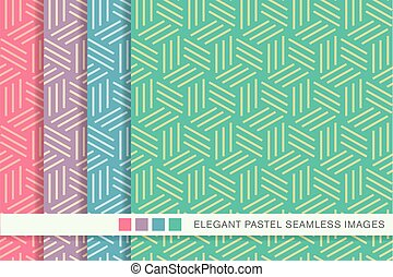 Seamless pastel background set spiral line box pattern