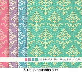 Seamless pastel background set vintage dot line curve flower