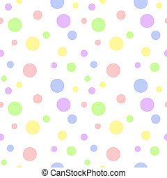 Seamless pattern of soft baby pastel color polka dots in various sizes on white background