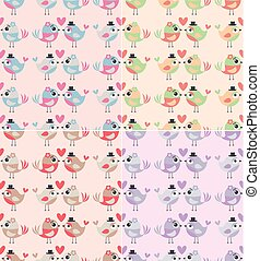 seamless pastel pattern with 2 cute love birds