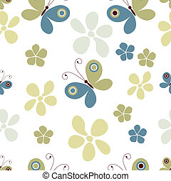 Seamless pastel pattern with butterflies and flowers (vector...