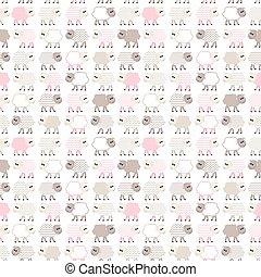 Seamless pastel pattern with sheep - Seamless pastel pink...