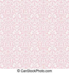 Seamless Pastel White & Pink Damask - White damask pattern...