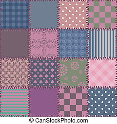 seamless patchwork background with different patterns