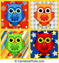 Seamless patchwork birds-3 - Seamless patchwork pattern with...