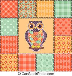 Seamless patchwork owl pattern 4
