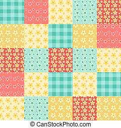 seamless, patchwork, padrão, 1.
