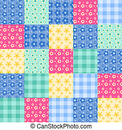 Seamless patchwork pattern 4. - Seamless patchwork bright...