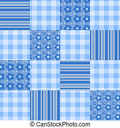 Seamless patchwork pattern blue.