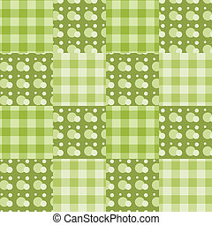 Seamless patchwork pattern green.
