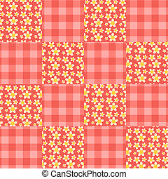 Seamless patchwork pattern red.