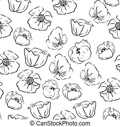Seamless patern with poppies in graphic style
