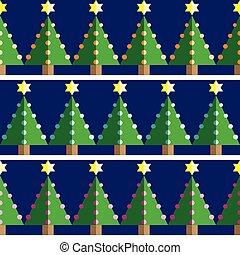 seamless, patrón, árboles de navidad