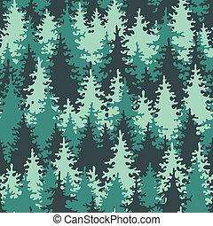 seamless, patrón, conífero, bosque