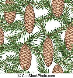 seamless, patrón, con, abeto, ramas, y, cones., detallado,...