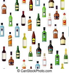 seamless, patrón, con, alcohol, botellas