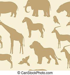 seamless, patrón, con, animal africano, siluetas