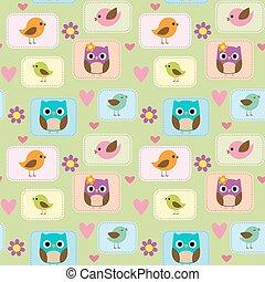 seamless, patrón, con, aves, búhos, y, flores