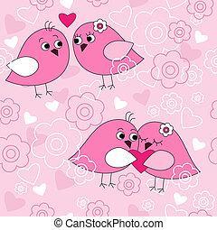 seamless, patrón, con, aves, enamorado